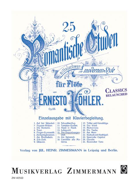 25 romantische Etüden op Ernesto 66//14 Nr 14: Der Doppelzungenstoß Koehler